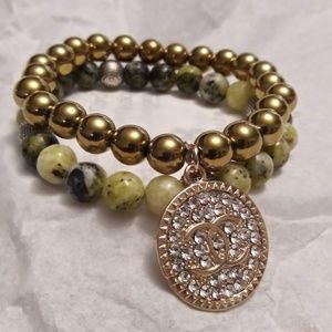 Jewelry - Yellow Agate and Gold Pave Bracelet
